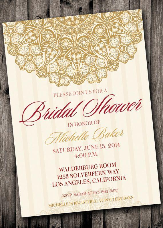 Bridal Shower Invite Rose Gold Pink Elegant Old