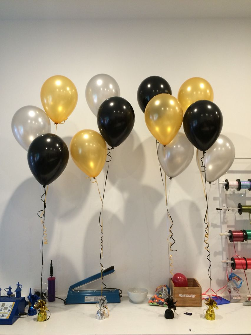 Elegant Metallic Black Gold And Silver Birthday Decorations For