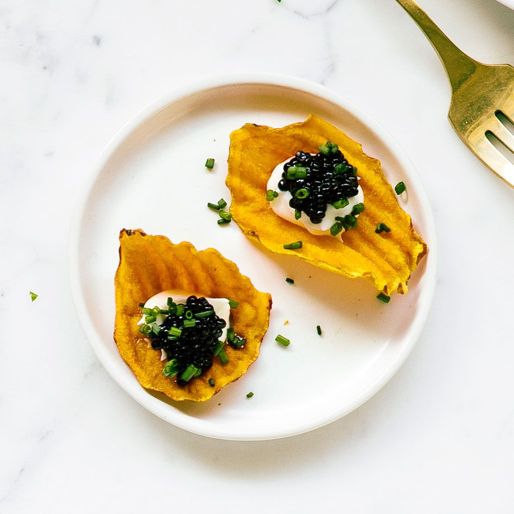 SweetPotato Chips with Crème Fraîche and Caviar Recipe