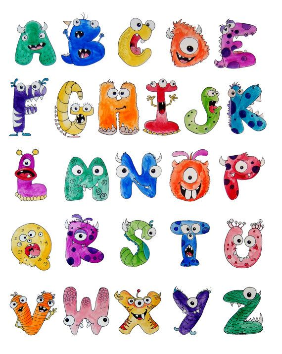 Ursprünglich ist das Monster-Alphabet, 18 x 24 Pen und Wasser-Farbe ...