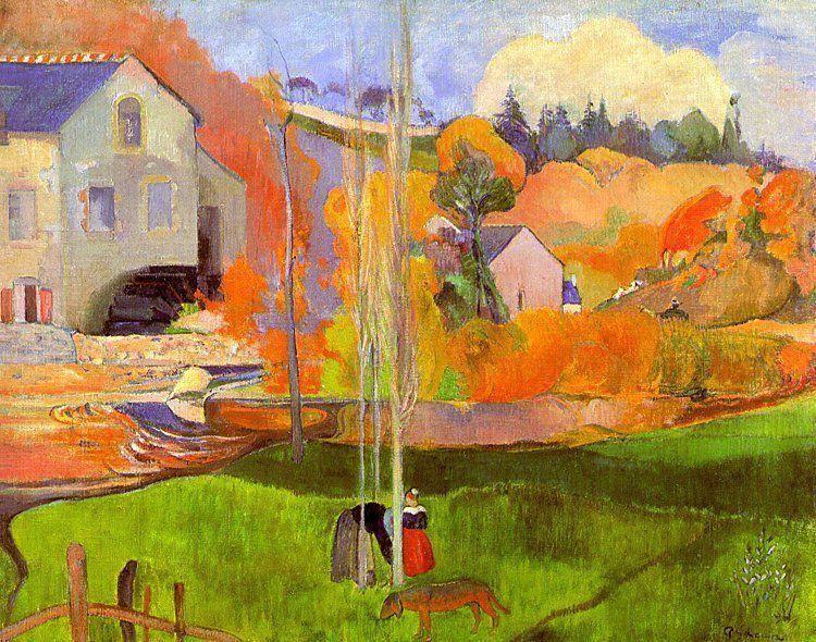 A breton landscape. David's mill. - Gauguin Paul