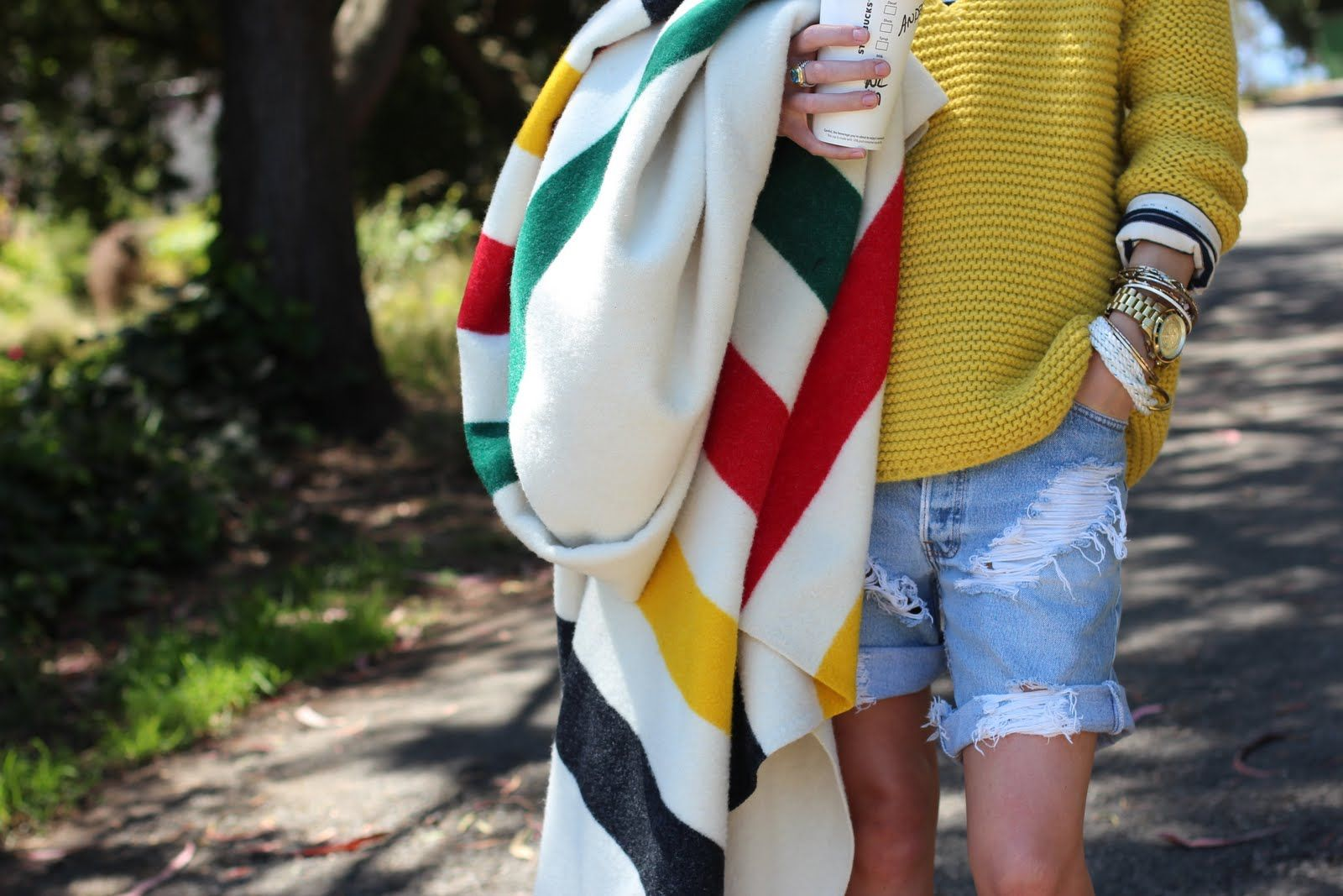 Mustard sweater. DIY destroyed jean shorts. & bracelets  [easy, thrown together look]