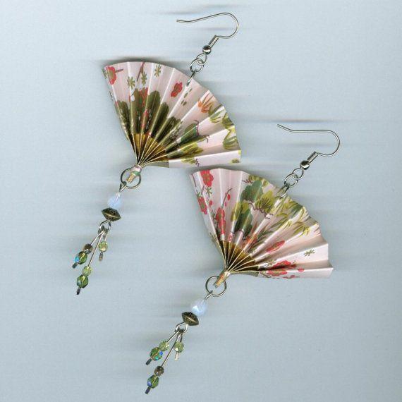 Origami Fan Earrings Asian Japanese Style Folded Paper Washi