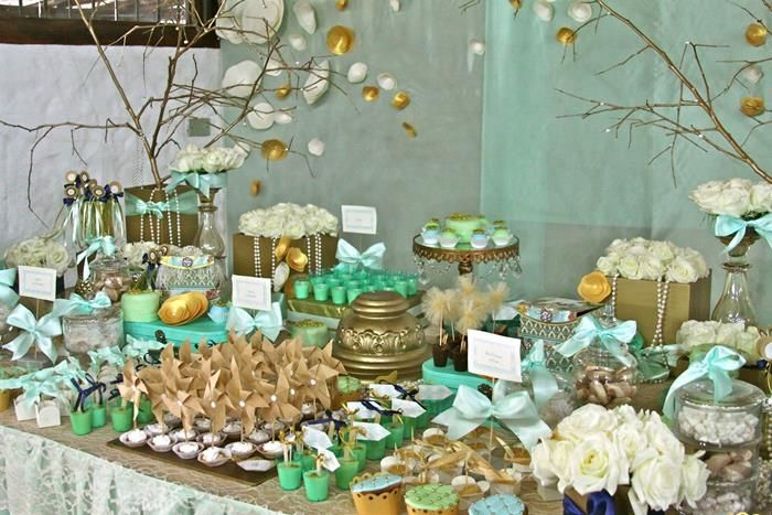 Gold And Mint Baptism Ideas Supplies Decor Dessert
