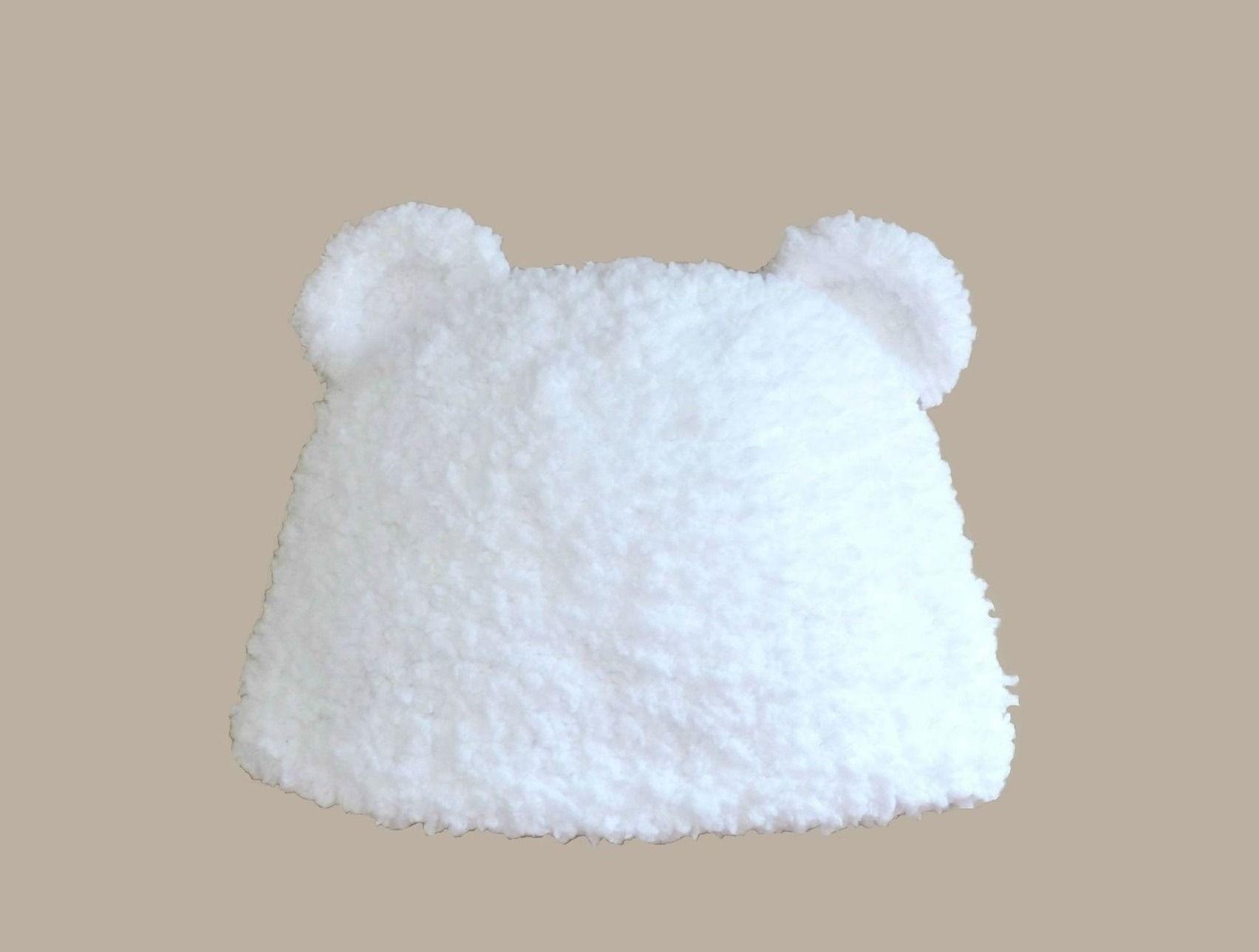 Célèbre bonnet bébé fourrure blanche ou grise avec oreilles d'ourson ( 0  EA33