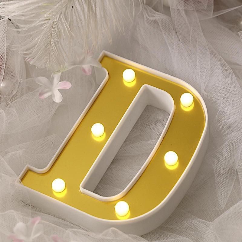 """6/"""" tall GOLD I LED Lighted Marquee Letters Sign Party Wedding Events Decorations"""