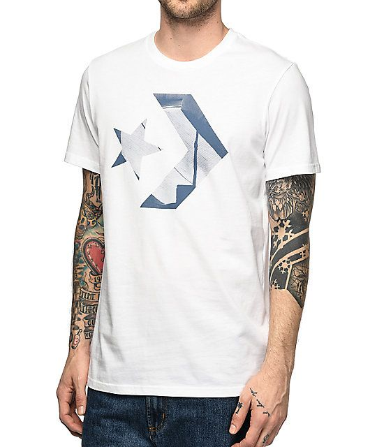 d336a76ffb58 Get classic skate styling from Converse with the Stash Logo white t-shirt.  This classic cotton design has a photo graphic of Brooklyn Banks in the ...