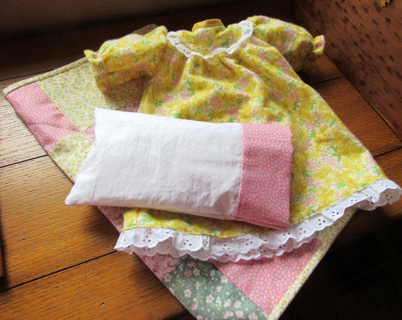 18 Handmade Patchwork Doll Quilt Plus Pillow, Pillowcase and Nightgown Yellows, Pinks and Green