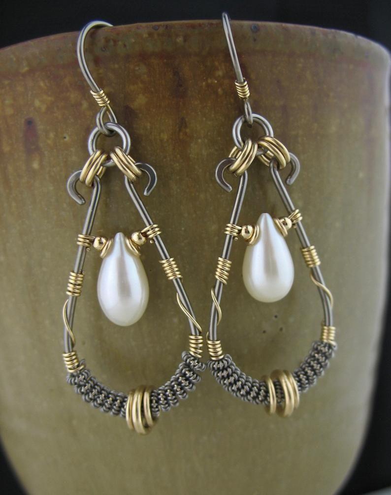 Gray wire wrapped earrings