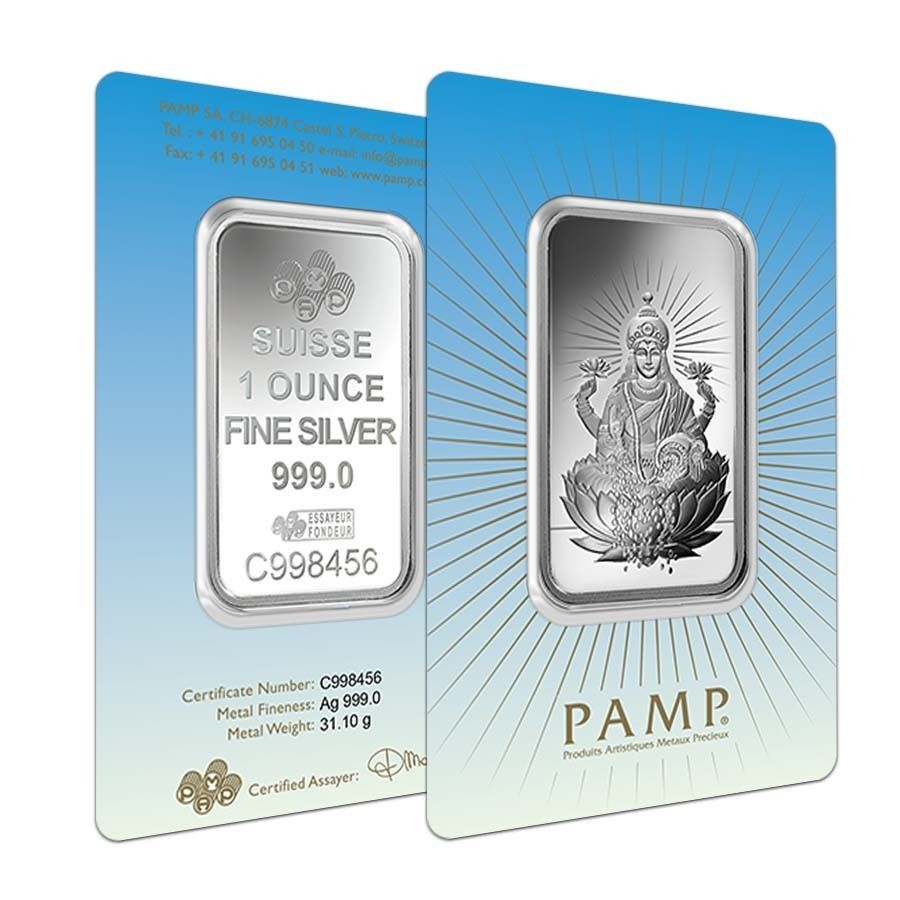 1 Oz Pamp Suisse Silver Bar Lakshmi In Assay 999 Fine Bullion Exchanges With Images Silver Bars Silver Silver Bullion