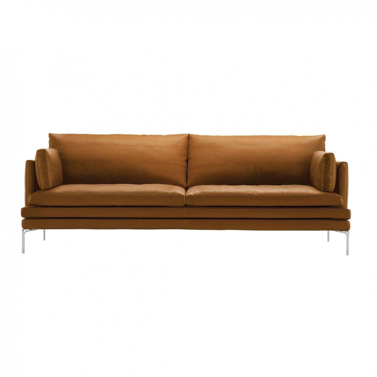 Zanotta William 2 Sitzer Sofa 224x87x90cm Cognac Leder Naturale Extra 0414 Gestell Alu Silber Inkl 2 Kissen 224 55x30cm Sofa Sofa Design Seating