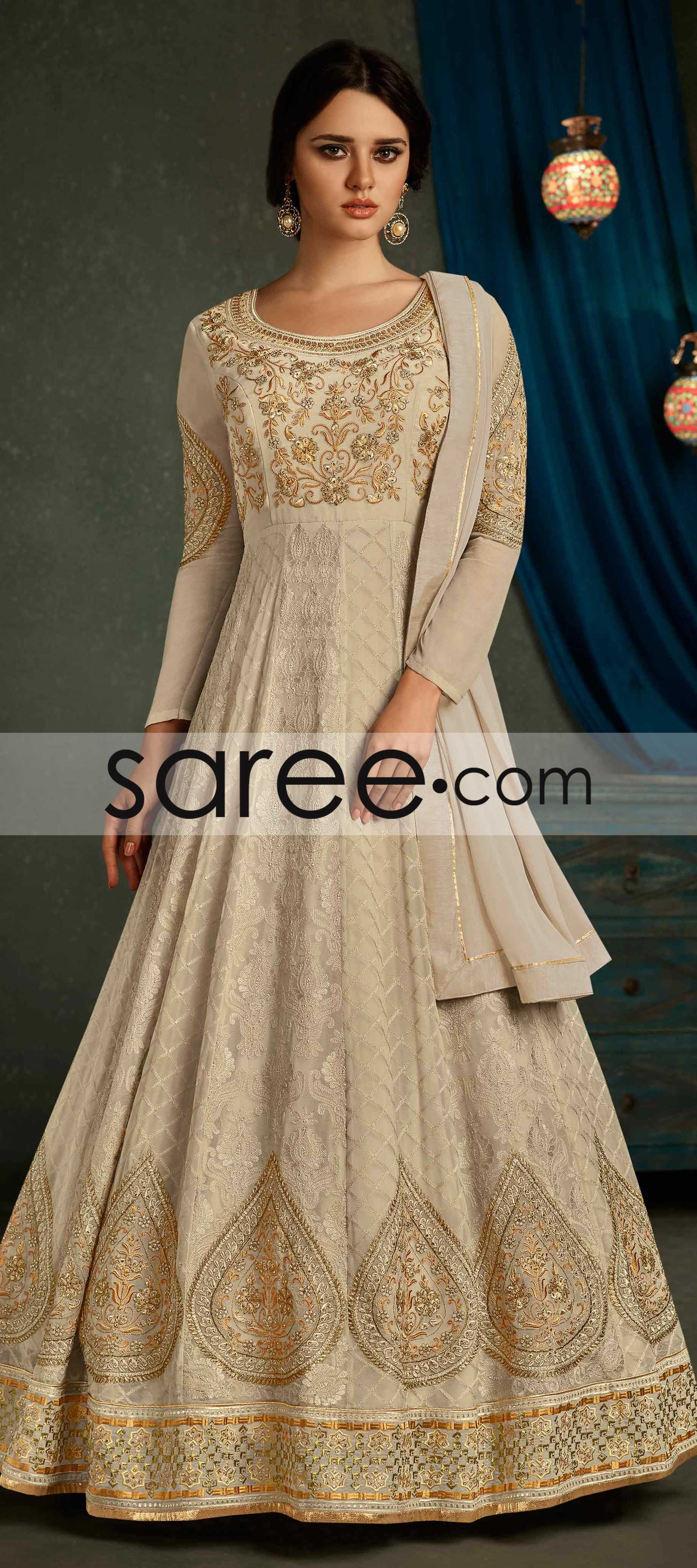 4fa4325ac4 Spanish Off White Georgette Anarkali Suit With Lakhnavi Embroidery Work