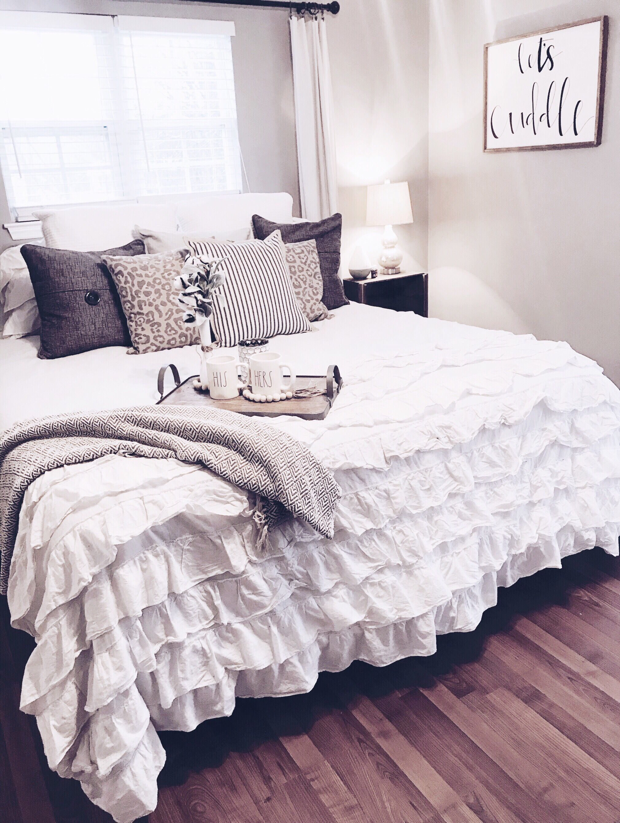 White Bedding Refresh Let S Cuddle Sign Wall Decor Ruffle Bedding