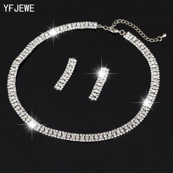 ... Silver-Jewellery by rishwishstore. Silver Rhinestone choker necklace set . ac45ee069e1e