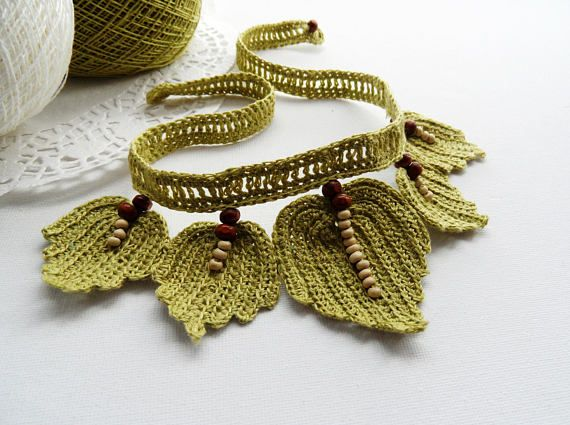 Crochet Choker - Natural Linen Necklace - Beaded Leaves Necklace ...