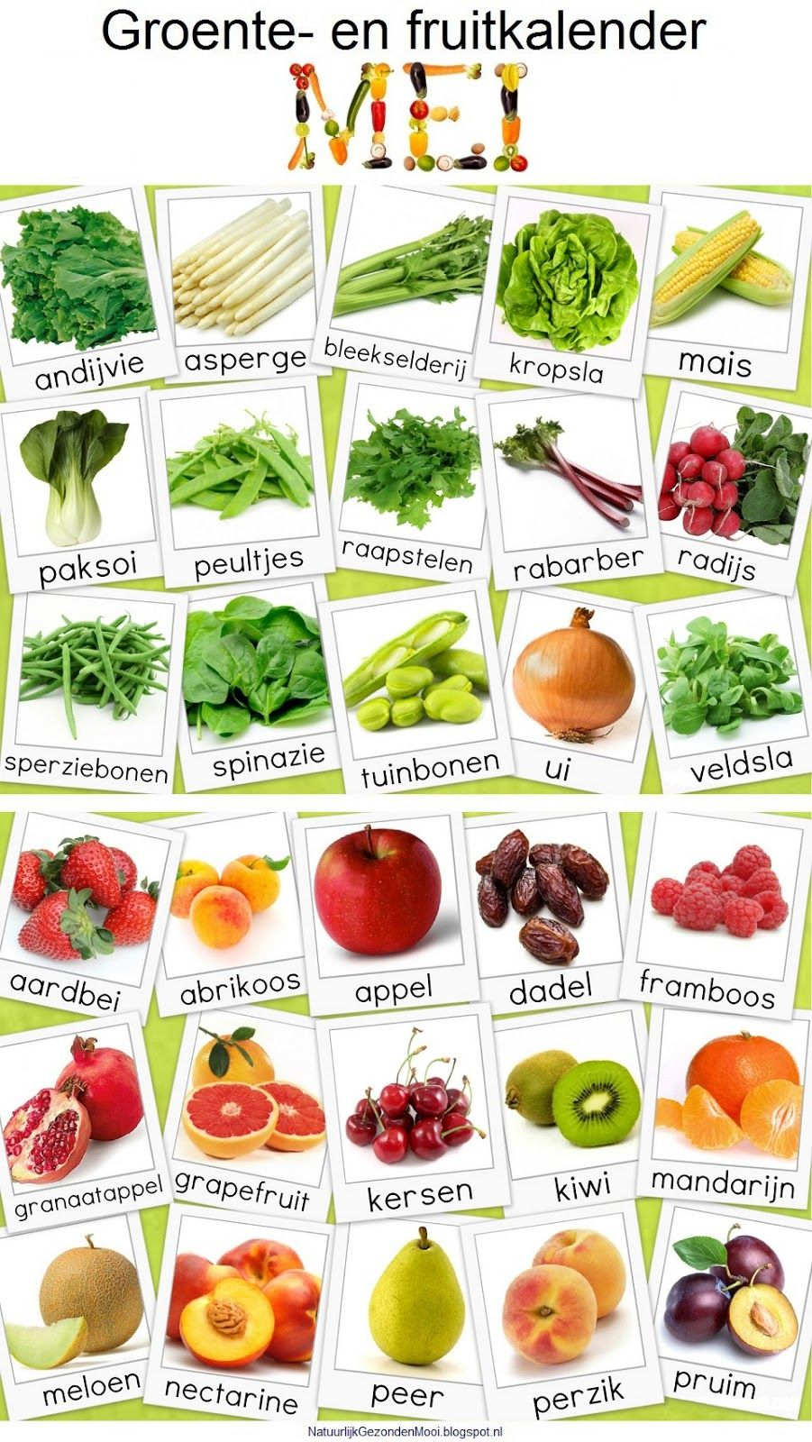 Afbeeldingsresultaat voor groenten en fruitkalender mei
