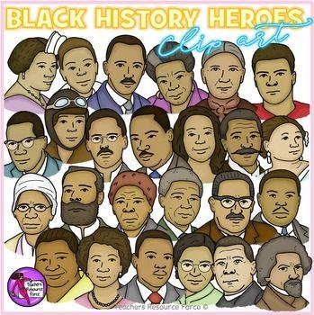 Black History Heroes Clip Art Crayon Effect Clipart History Heroes Black History Clip Art