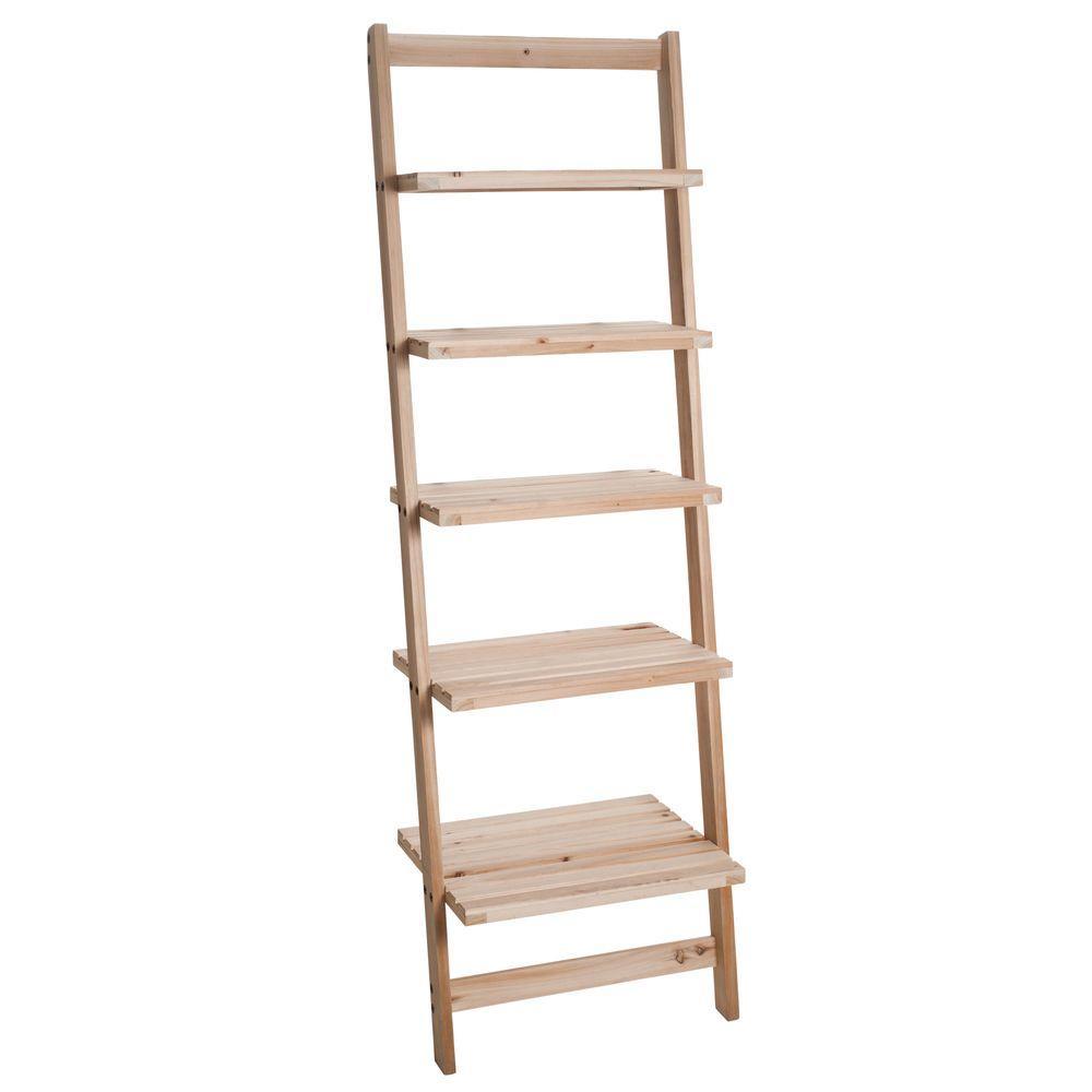 Tier Ladder Blonde Wood Storage Shelf Light Brown Wood