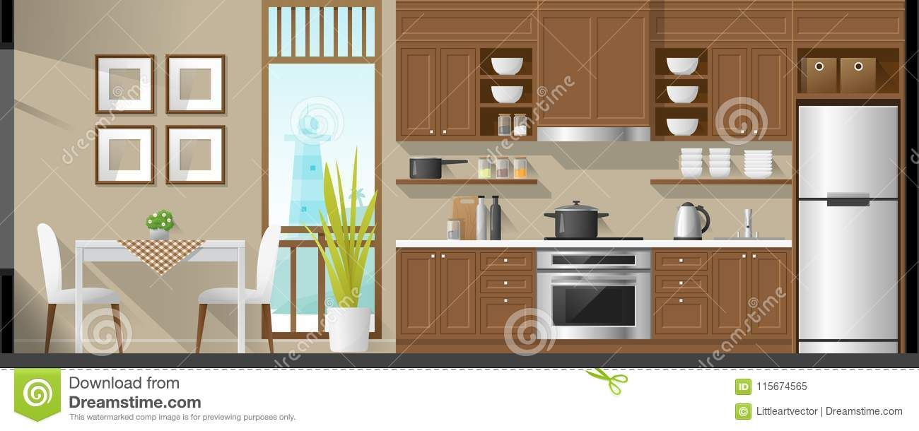 Illustration About House Interior Section Background Including
