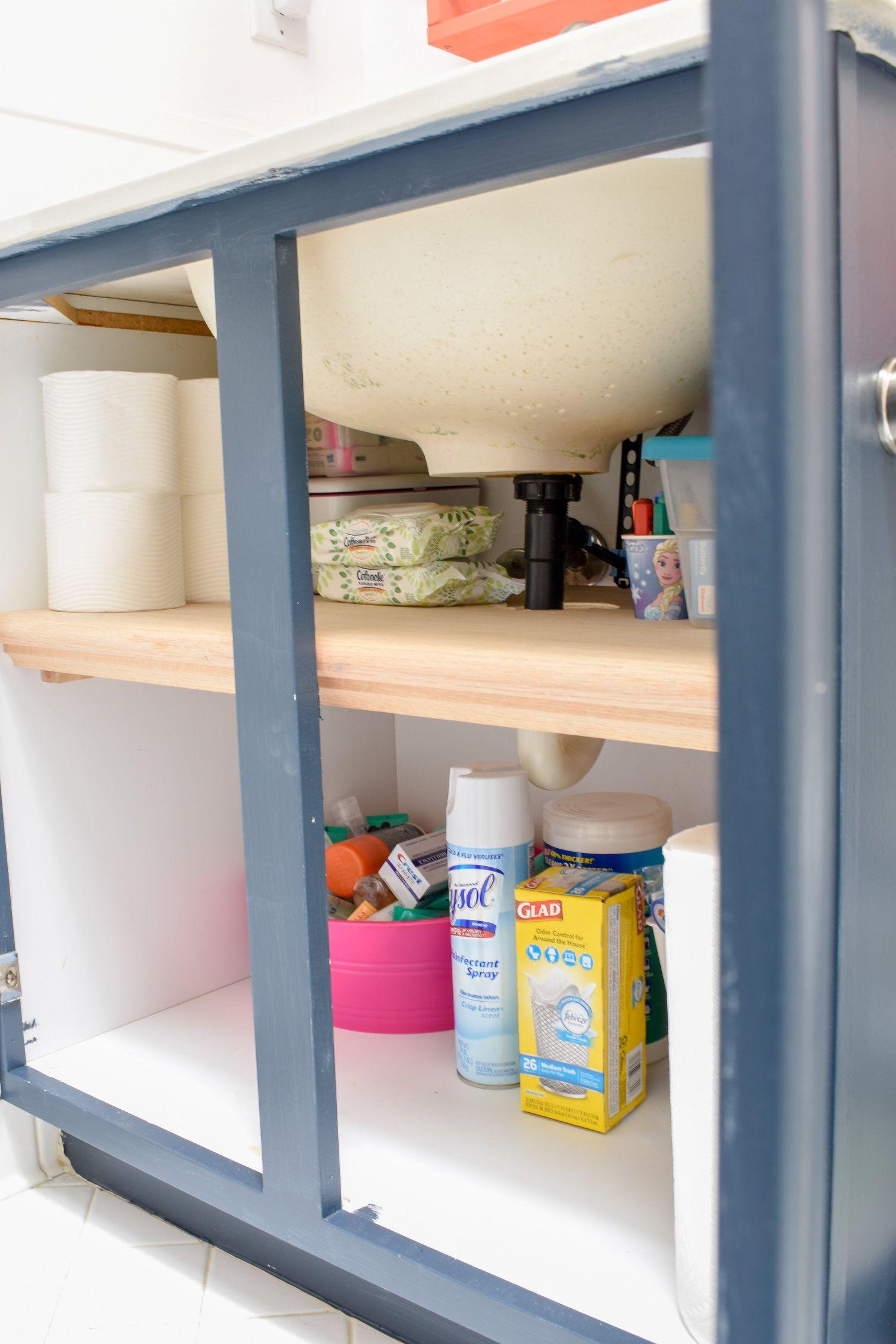 Bathroom Organizing DIY: Under Cabinet Bathroom Storage in ...