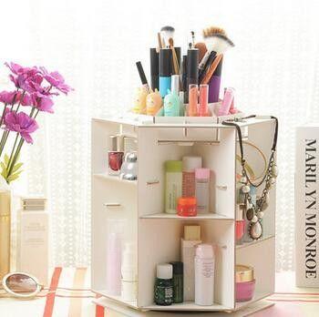 DIY 360 Degree Rotation Waterproof Jewelry Box Retro Storage Box Makeup  Desk Organizer Wood Tin Box