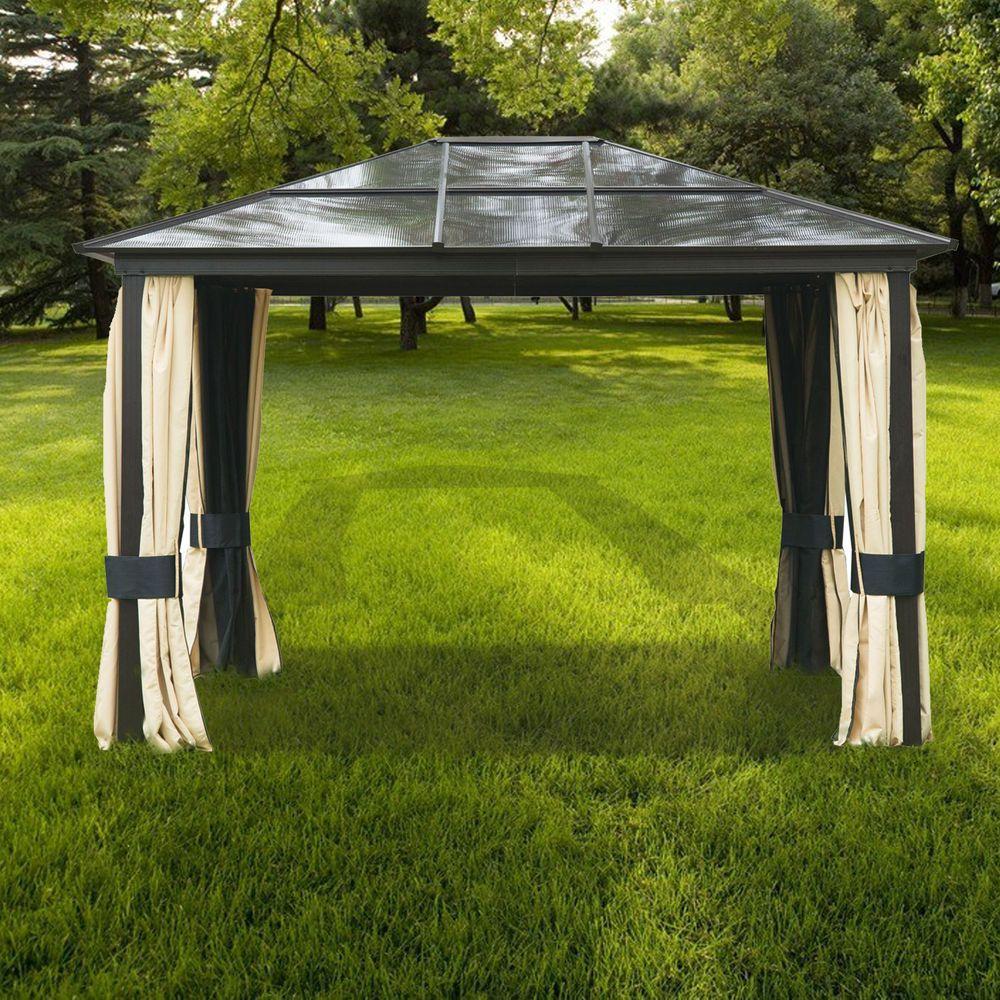 12u0027x10u0027Outdoor Patio Hardtop Roof Aluminum Metal Gazebo Canopy W/Side Walls