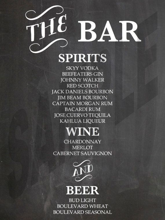 printable wedding reception chalkboard bar menu in 2018 bridal