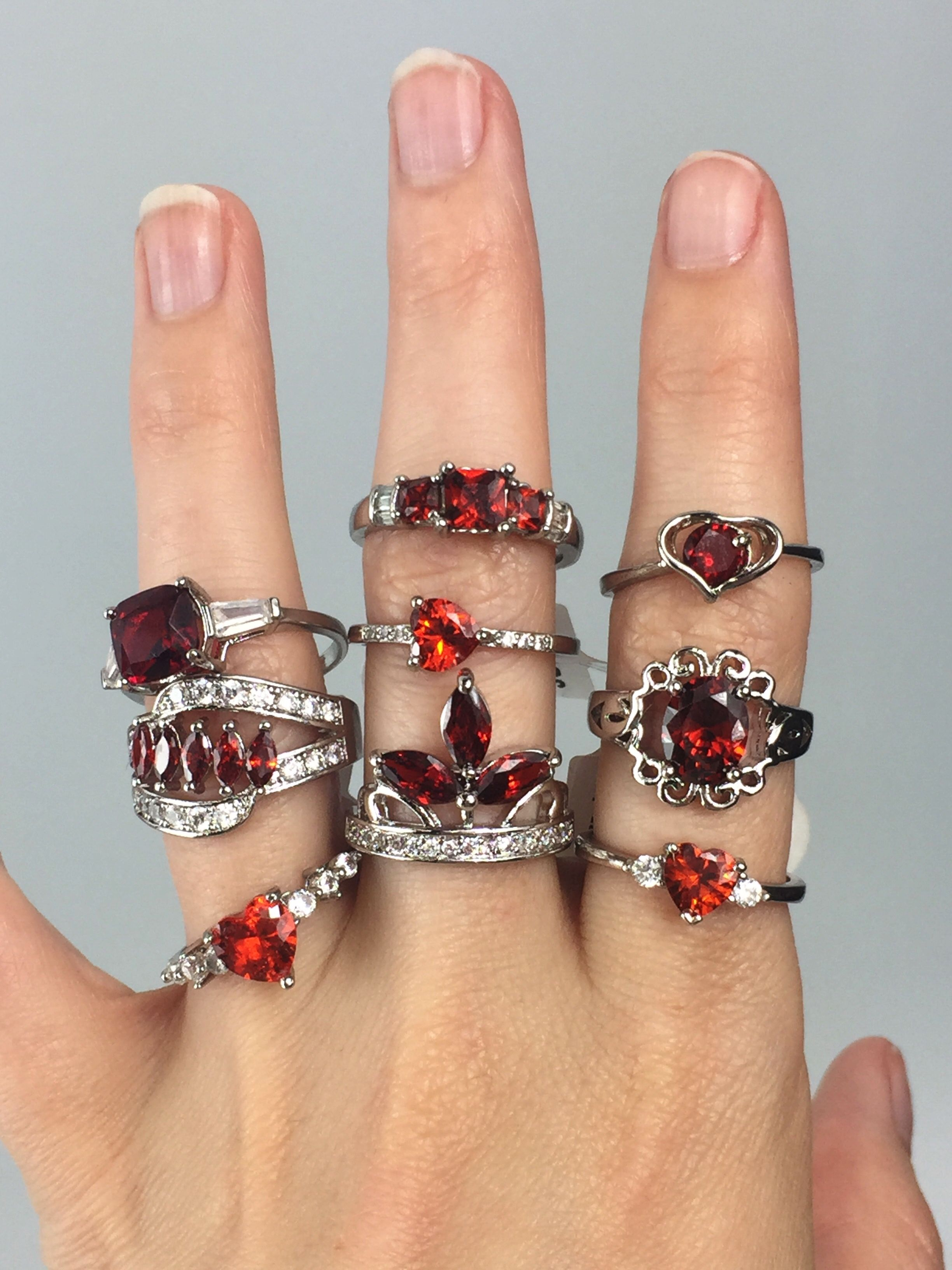 Ruby red ring reveals. Fashion jewelry. Costume jewelry ...