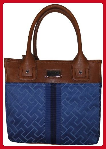 e4c58802c53 Tommy Hilfiger Women's Small Tote Handbag, Blue Large Logo Trimmed With  Brown - Totes (*Amazon Partner-Link)