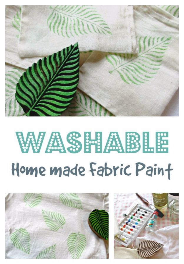 32 Diy Paint Techniques And Recipes Washable Homemade Fabric Paint Cool Painting Ideas For Walls And Furnitur Fabric Paint Diy Diy Textiles Fabric Stamping