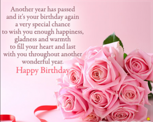 Birthday Wishes With Pink Flowers Advance Happy Birthday Birthday Greeting Message Happy Birthday Wishes Images