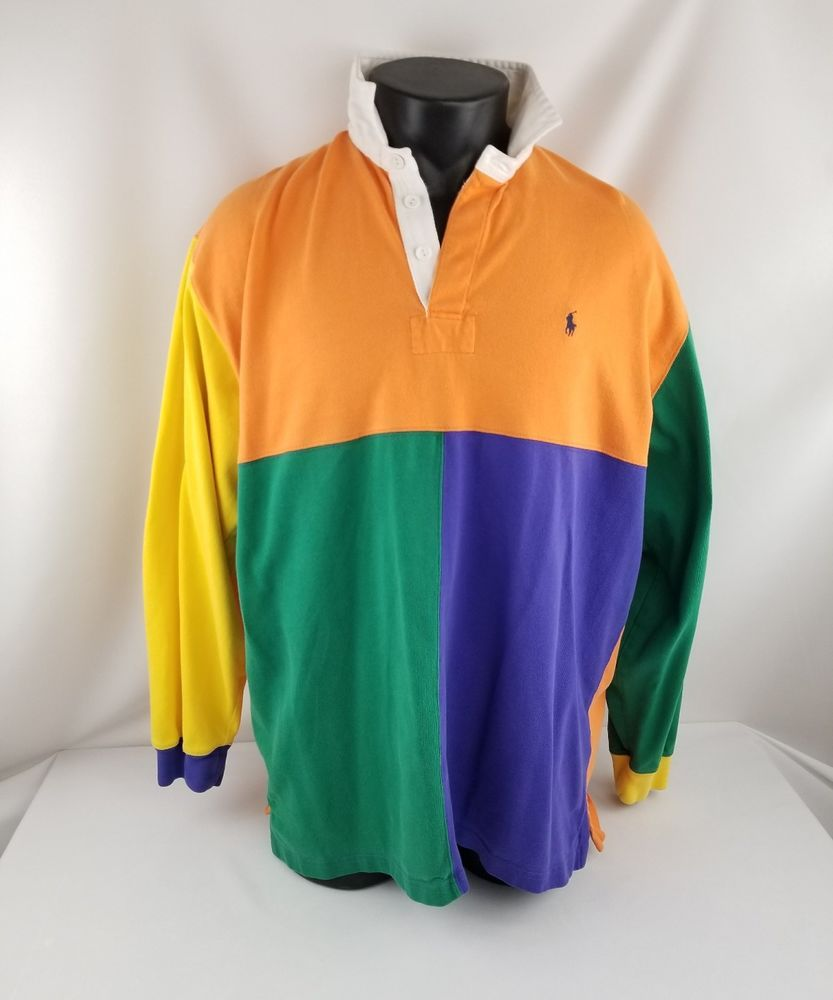 Colored Polo Vintage Lauren Sleeve Rugby Long Ralph Multi Style Nn0XwO8Pk
