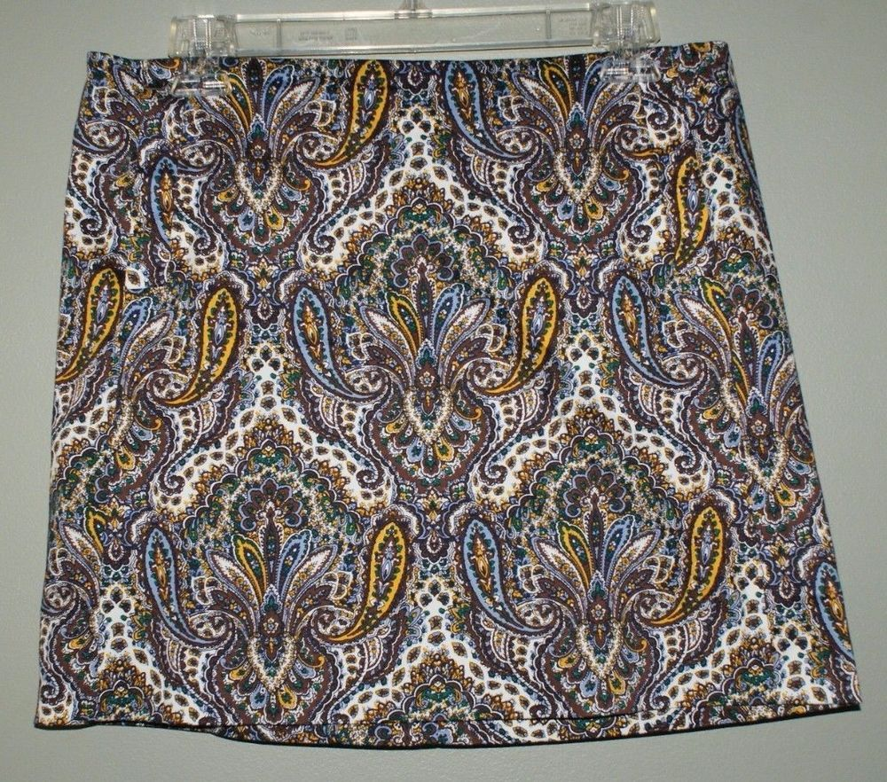 J Crew stretch paisley mini skirt front pockets womens size 6 #JCrew #Mini