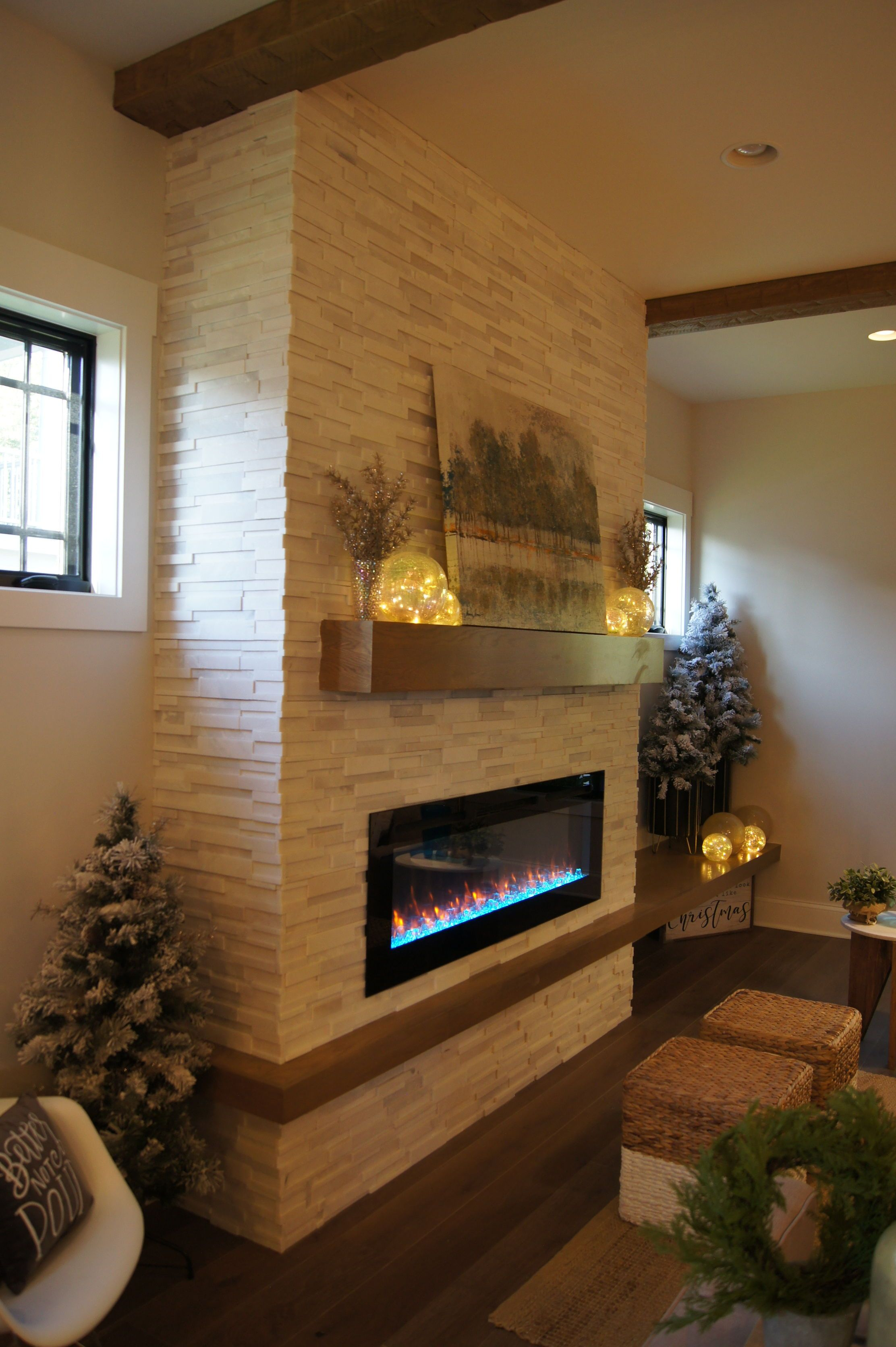 Dreaming Of Snow And A Cozy Blanket In 2020 Stone Tile Fireplace