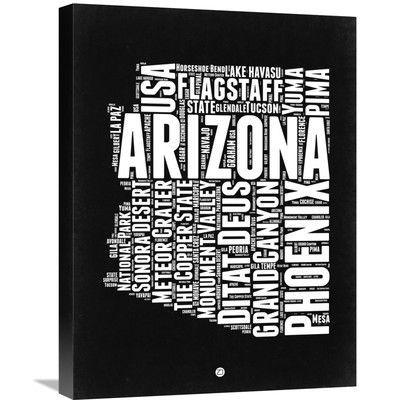 "Naxart 'Arizona Map' Textual Art on Wrapped Canvas Size: 24"" H x 18"" W x 1.5"" D"