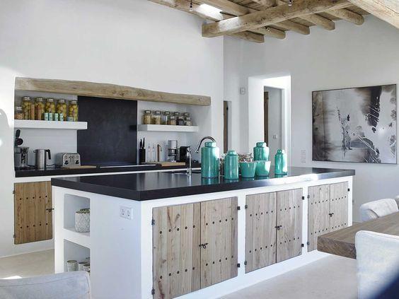 Si quieres una cocina r stica una idea es hacerla de obra - Cocinas rusticas en blanco ...