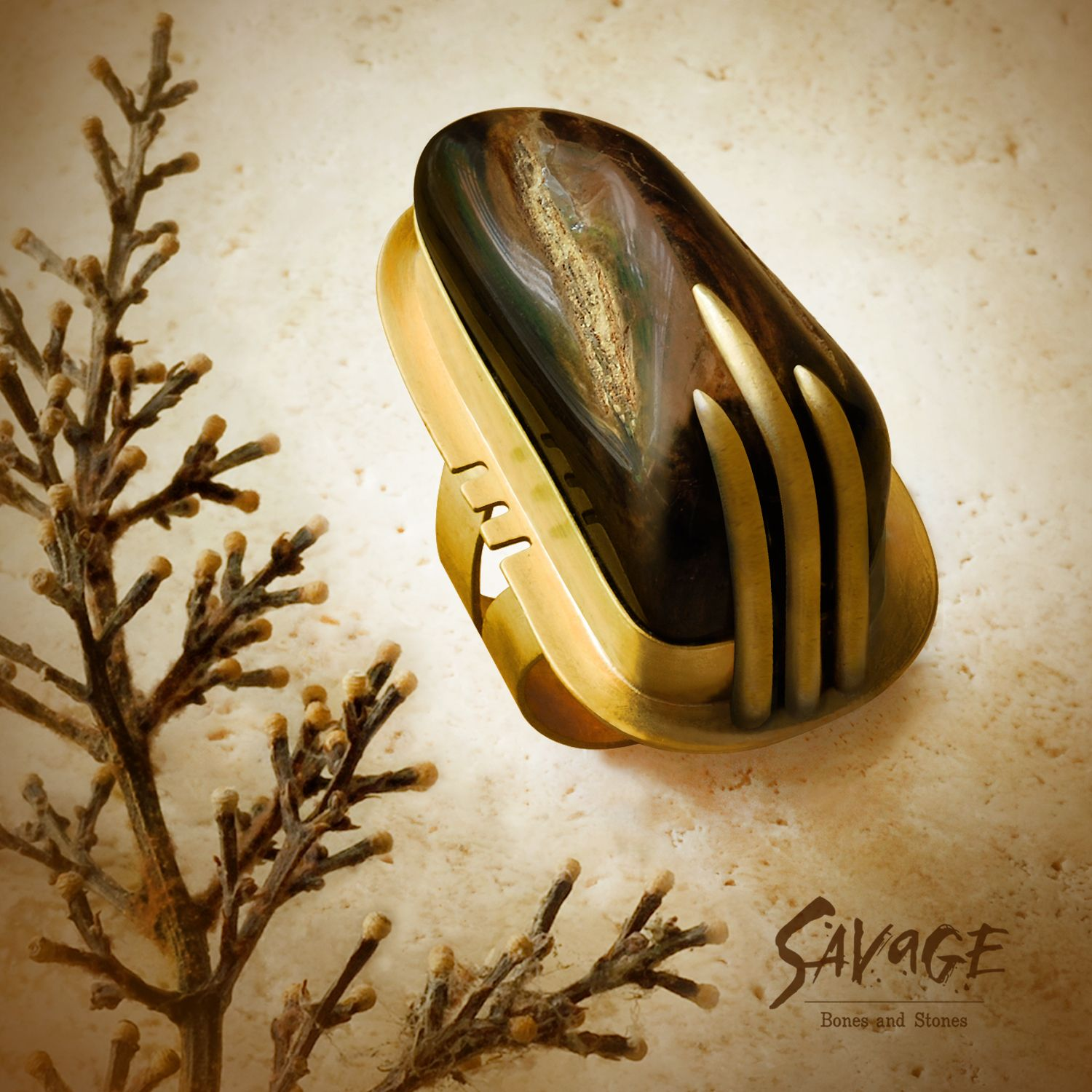 This highly polished chunk of petrified wood makes an impressive ring!