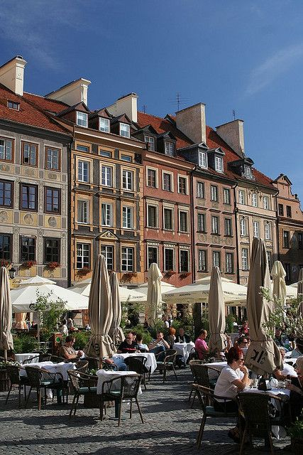 Good shot of my friend's beautiful 3rd floor apartment for rent (middle building) Old Town Square, Warsaw, Poland
