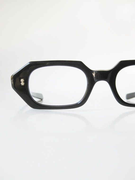 f61e9fca632 Read that book in style in these elegant vintage 1950s midnight black  reading glasses with great angular hexagonal lines and authentically vintage