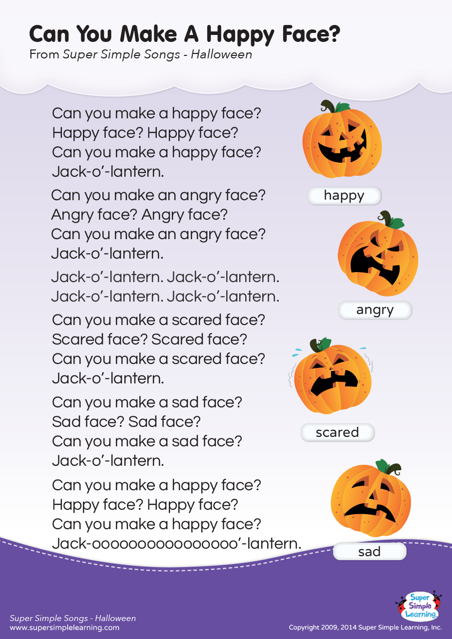 Can You Make A Happy Face? Lyrics Poster Halloween songs