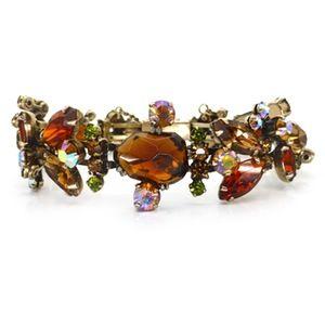 Image of Vintage Weiss Amber Aurora Borealis Paste Rhinestone Bracelet