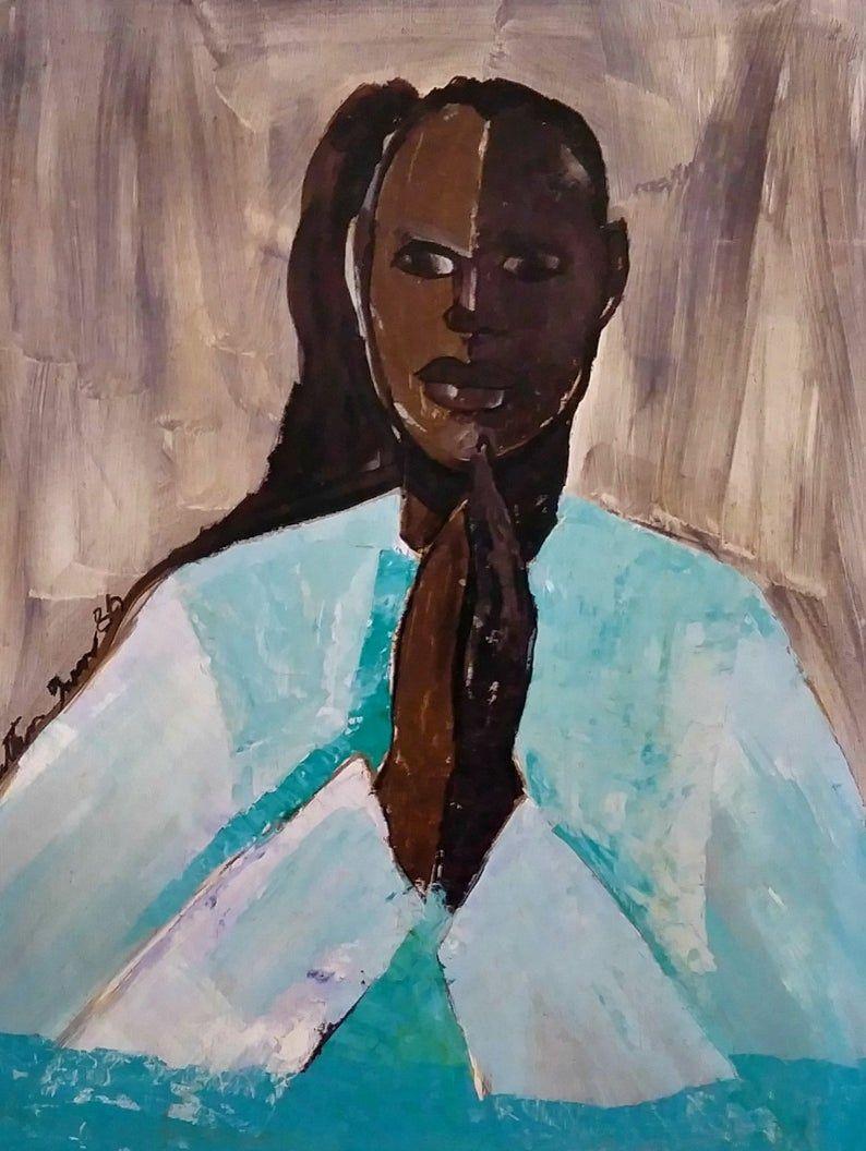 African american art print david by jonathan green