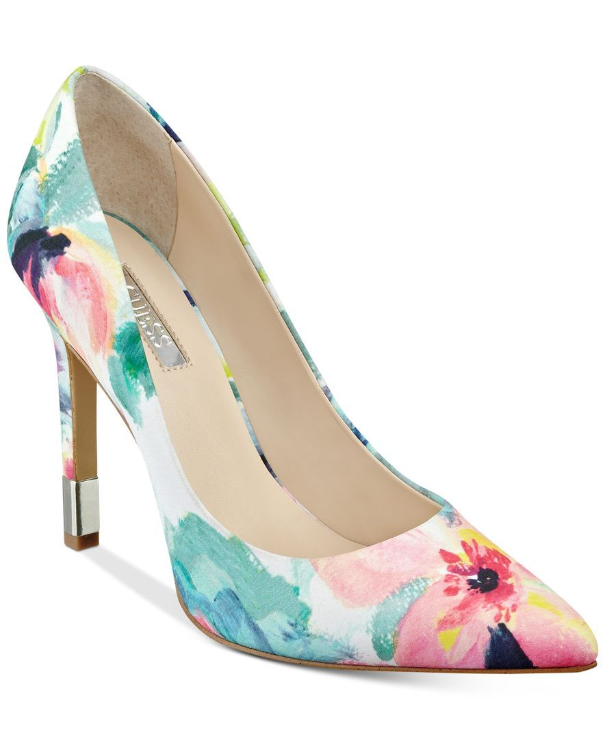 Pointed-Toe Floral-Print Pumps