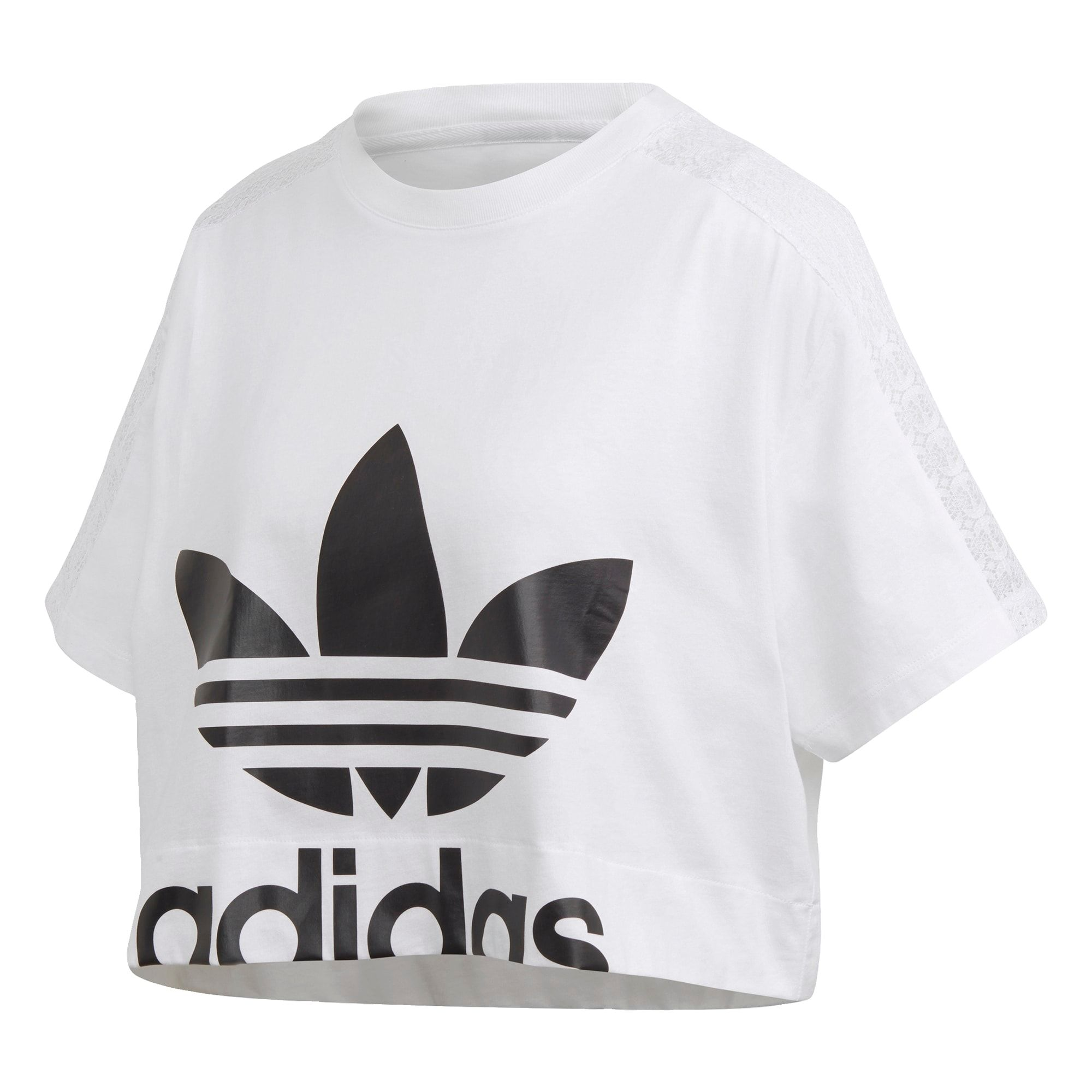 Adidas Originals T Shirt Damen Weiss Schwarz Grosse Xs S In 2020 Spitzen T Shirt T Shirt Damen Und Adidas Originals