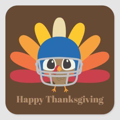 Cute Thanksgiving football turkey Square Sticker -   12 disguise a turkey project boy spiderman ideas