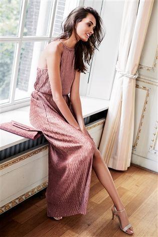 f199ead930dc6 Buy Pink Metallic Plissé Maxi Dress from the Next UK online shop ...