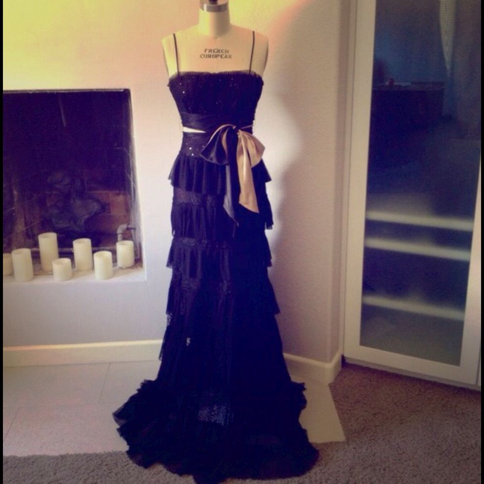 Bcbgmaxazria black dress night party wedding prom night parties