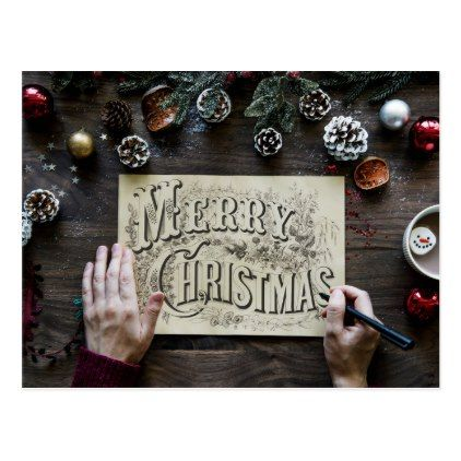 Postcard. Merry Christmas. Holiday Postcard | Zazzle.com #pintereststyle