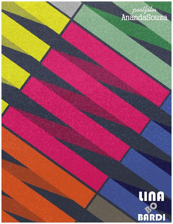 Tapete criado com tema Bauhaus e inspirado nas obras de Lina Bo Bardi.