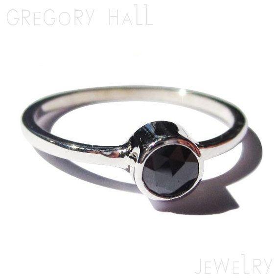 14K White Gold Black Diamond Wedding Band Anniversary Engagement Ring Rings Jewelry Jewellery SSR-504. $380.00, via Etsy.